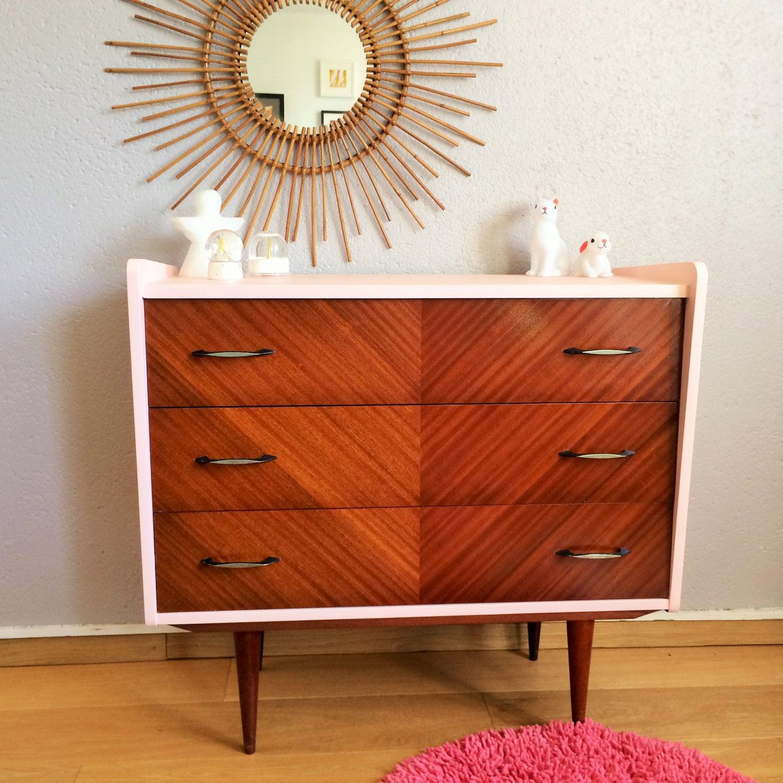 chest of drawers mid century modern vintage 50s pink. Black Bedroom Furniture Sets. Home Design Ideas