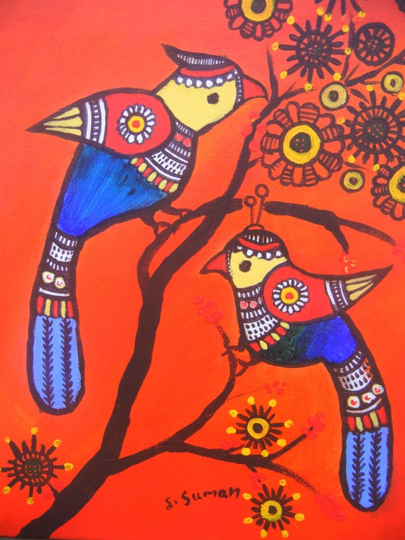 Items similar to pair of birds acrylic painting print indian folk art print children room wall Home decor paintings for sale india