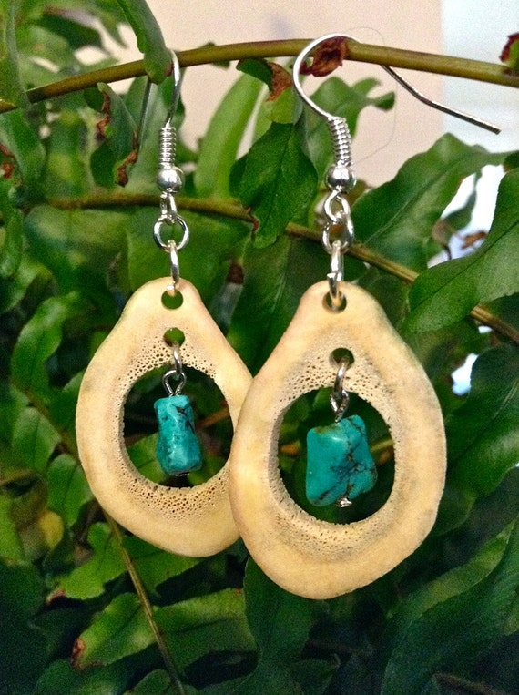 Caribou Antler Earrings with Turquoise embellishment