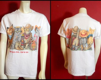 Dallas Texas Cats T Shirt 80s 90s Cotton Cowboy Cat T