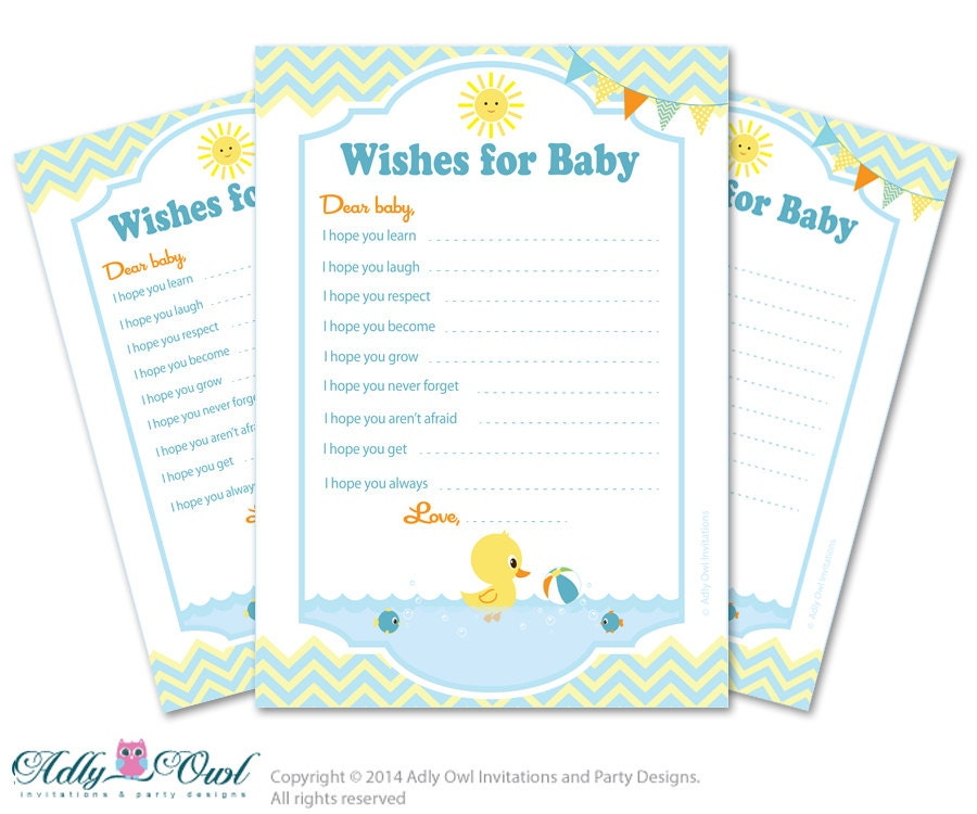 boy duck wishes for a baby shower well by adlyowlpartyprints