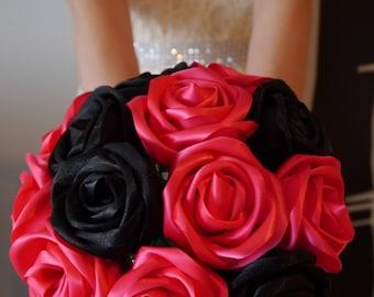 Pink & Black Panther Satin Ribbon Rose Wedding Bouquet, Handmade