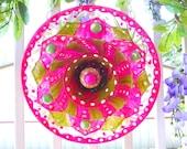 Beautiful Glass Plate Flower Unique Sun catcher Glass Flower Plate Glass Garden Art  Flower Garden Flower Plate Glass Yard Art Layaway Plan