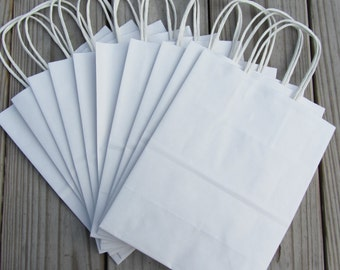 White Kraft Paper Handle Bags (8 x 4 x 10) - 20 Pack