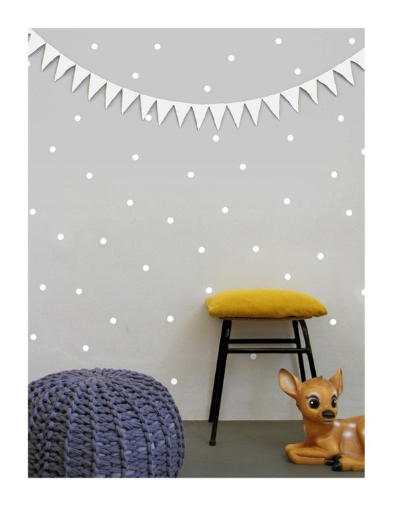 White dot wall decals polka dots wall stickers nursery wall for Dot wall vase