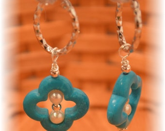 Turquoise & Pearl Earrings, with Silver-plated beads, on Silver-plated fancy Headpin, and oval Sterling hoops