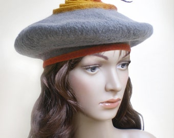 Ladies Fall Winter Hat Light Gray Saffron Orange Wool Beret, Hand Felted Beret, Modern Unusual Hats from France, Can Be Worn in Many Ways
