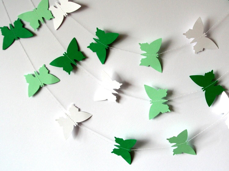Paper garland green paper butterfly garland white paper for White paper butterflies