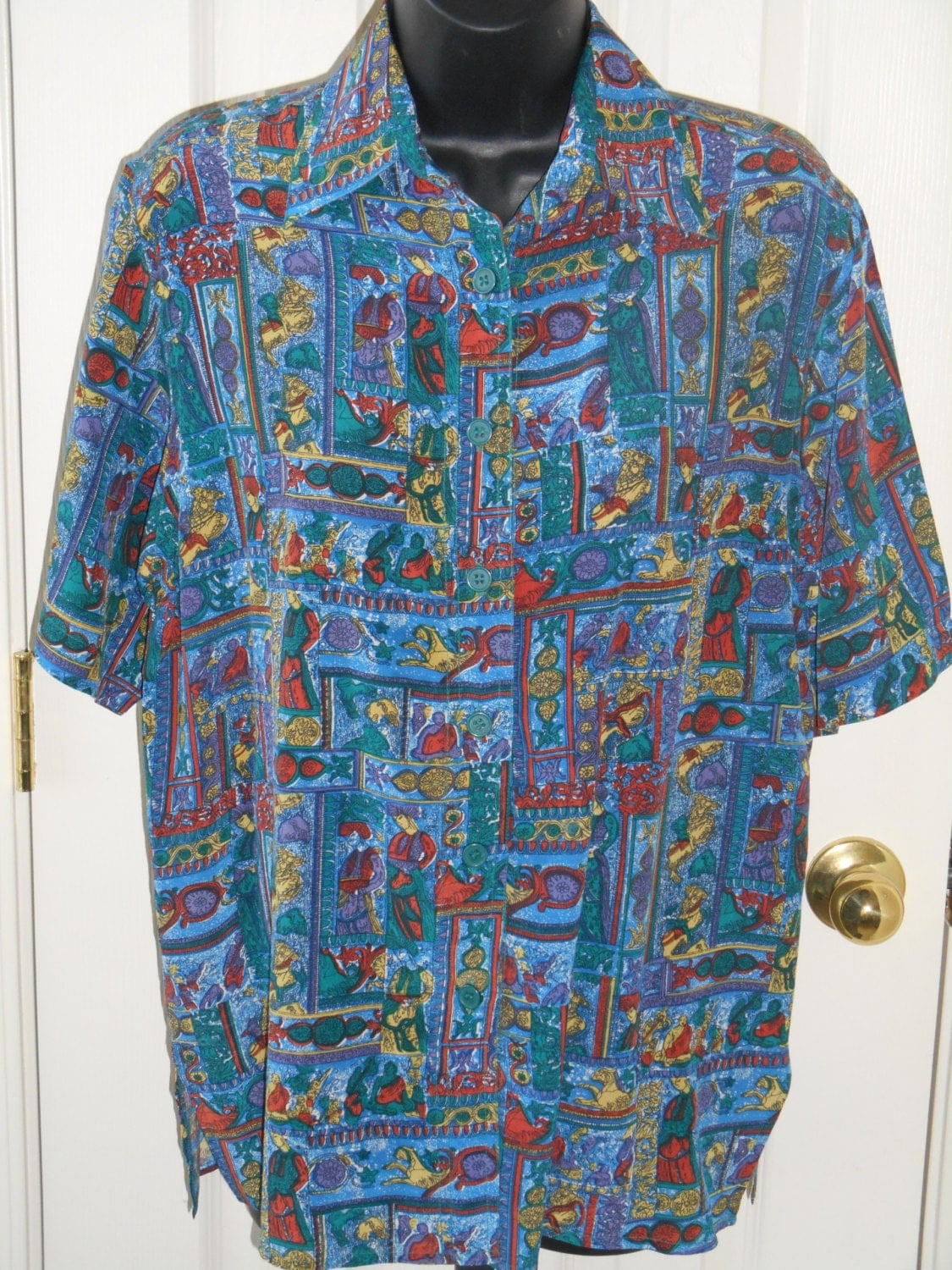 90s Vintage 100 Silk Short Sleeve Shirt Small By