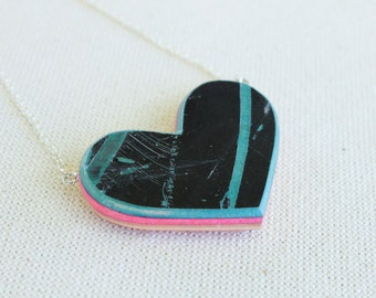 Reversible Recycled Skateboard Heart Necklace, Large