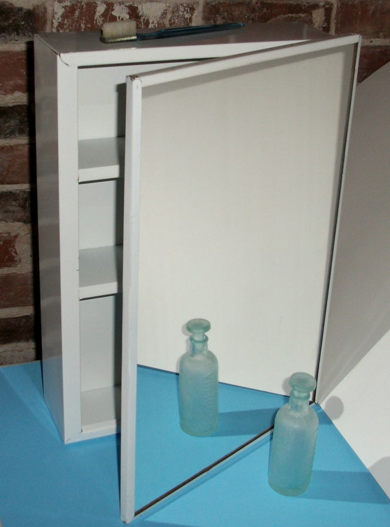 Vintage White Metal Medicine Cabinet With By