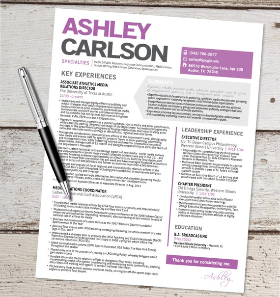 The Ashley Resume Design Graphic Design Marketing Sales