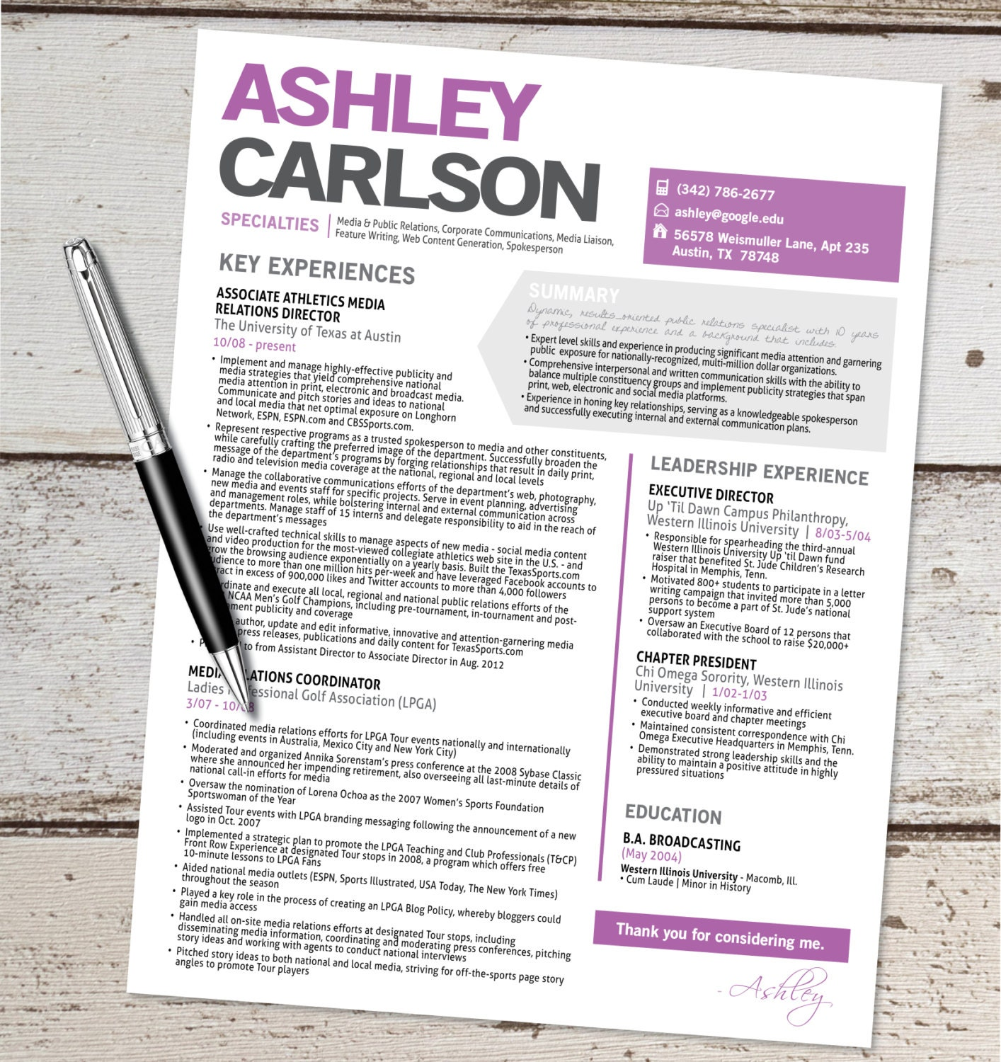 the ashley resume design graphic design by vivifycreative🔎zoom
