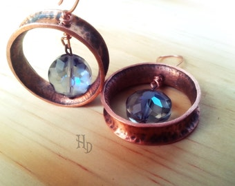 Copper Hoops with glass beads
