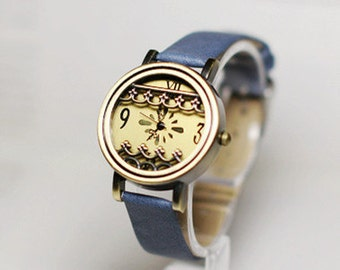 Metal lace,Wrist watch, Women watch, Leather Watch ,Birthday gift, Special gift