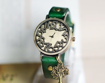 Mr Tree,Wrist watch, Women watch, Leather Watch ,Birthday gift, Special gift