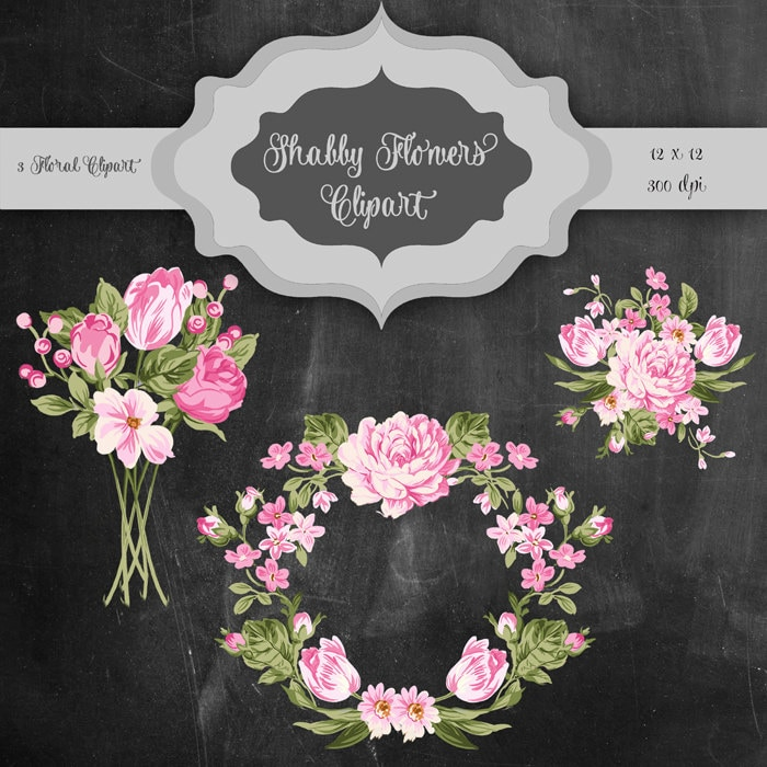 Shabby Flowers Digital Clip Art Vintage flower bouquet &