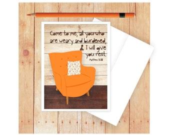 Get Well Card, Scripture Card, Blank Note Card, Blank Greeting Card, Matthew 11:28, Christian Cards, Prayer Card, Bible Verse, Friend Card