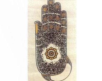 Small Wall Hanging Batik /Tapestry,Buddha Abhaya Mudra Hand gesture,Acrylic silkscreen (Hamsa/ Fatima hand),Symbol of Protection &Peace