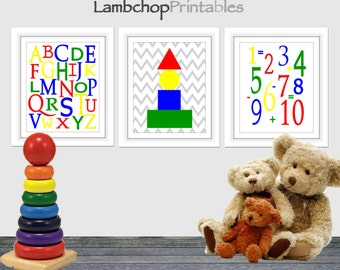 ABCs and 123s, Primary colors, children's wall art, nursery decor printable, kids room, playroom, baby room, printable wall art, shapes