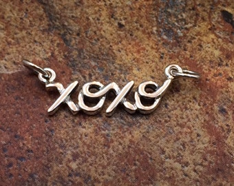 XOXO Word Charm, Hugs and Kisses, Hugs and Kisses Charm, Sterling Silver Script Charm, Word Charm, Word Tag, PS0147