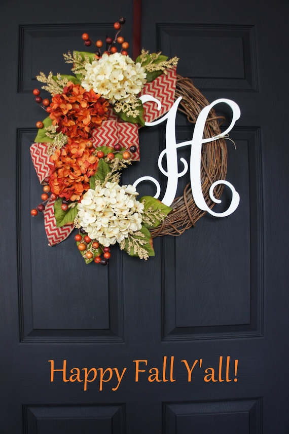 Fall Monogram Grapevine Wreath With Burlap Fall By