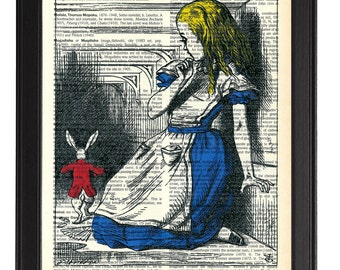 ALICE IN WONDERLAND Book Art, Vintage Dictionary Art Print, Alice in Wonderland Print, Alice & The Rabbit art print, Antique Illustration