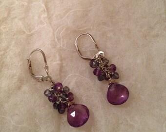 Handcrafted Purple Amethyst and Iolite Earrings