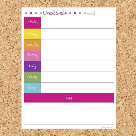 Items Similar To Workout Schedule Printable PDF