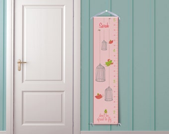 Birdcages in Peach - Personalized Children's Growth Chart
