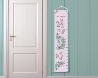 Pink Dreamy Floral Pattern - Personalized Childrens Growth Chart -  Custom Color, Kid Growth Chart