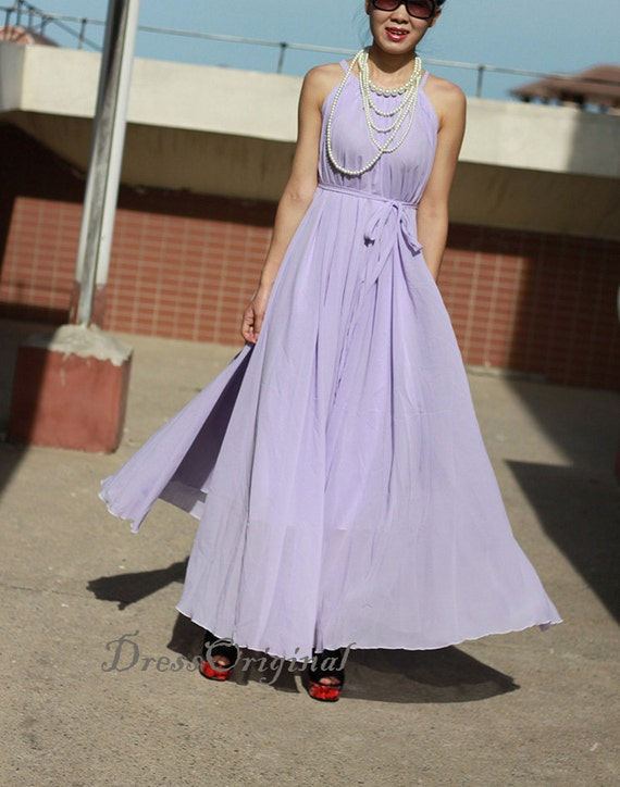 Lavender chiffon maxi dress plus