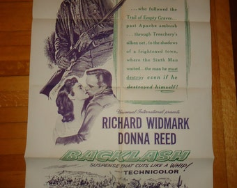 Original 1954 Backlash Military One Sheet Movie Poster Donna Reed Richard Widmark Cowboy Western