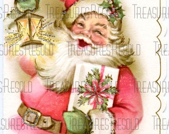 Retro Santa Claus Christmas Card #183 Digital Download