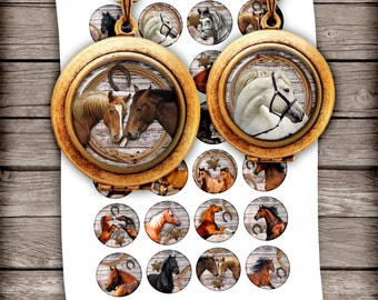 Horses - Digital Collage Sheets - Printable Circle Images 18mm 16mm for Jewelry Making - Instant Download