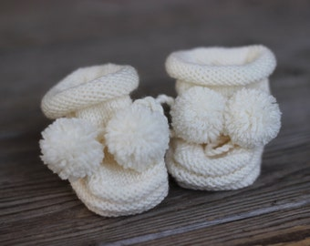 Handmade Baby Merino Wool Booties with Pom Pom Laces -- Cream (0-6 Months)