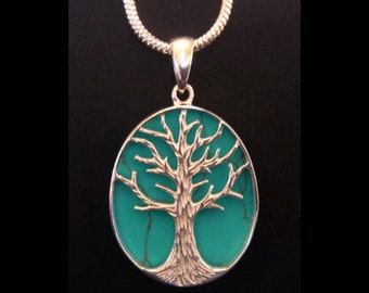 Tree of Life Necklace: Sterling Silver Tree of Life Pendant with Turquoise Inlay and 925 Tree of Life Motif. Tree of Life Necklace TOLP032