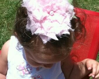 Shabby Flower with Leaf Headband or Hair Clip