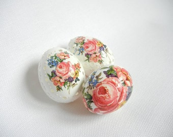 Set of 3 Hand Decorated Madeira Painted Rose Decoupage Chicken Easter Egg, Drilled Traditional Slavic Wax Pinhead Chicken Egg, Pysanka