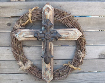 "18"" Easter Cross Wreath- Cross Wreath- Religious Cross Wreath- Rustic Cross Wreath- Cross Grapevine Wreath- Wooden Cross- Religious Decor"