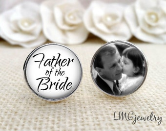 Father of the Bride Custom Photo Cufflinks, Father of the Bride Cufflinks, Custom Wedding Cufflinks, Fathers Day, Gift for Dad