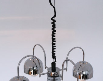 UNIQUE CHROME CHANDELIER Italian 4 arms mid century retro vintage 1960 era