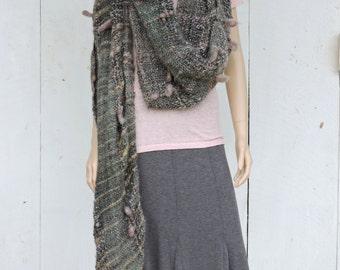 Elegant & Long Versatile Handwoven Mohair Wool Shawl Wrap in Greens Art Yarn