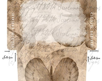 Digital Download - Vintage Paper Tea Stained Butterflies and Dragonflies Envelope