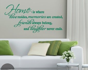 Home Is Where Love Resides, Memories Are Created, Friends Always Belong, And Laughter Never Ends Vinyl Wall Decal Sticker