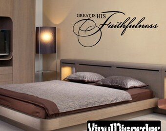 Great Is His Faithfulness Religious Quote Vinyl Wall Decal Or Car Sticker - Mv008ET