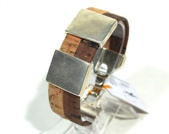 cork bracelet, vegan jewelry, vegan bracelet, bracelet in cork for men women,sterling silver bracelet