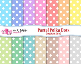 Pastel polka dots digital paper Pack.  Commercial & personal Use. Instant Download. Polkadot polkadots dot pattern patterns scrapbooking