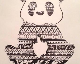 "Abstract Panda. 8""x10"". Original work"