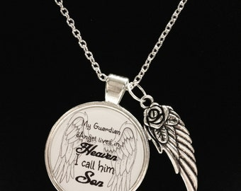 Memory Necklace, Son Angel Necklace, Angel In Heaven, Wing Memory Remembrance Memorial Necklace, Not Forgotten Sympathy Gift Necklace